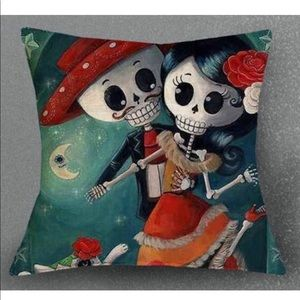Day of the death, linen pillow cover
